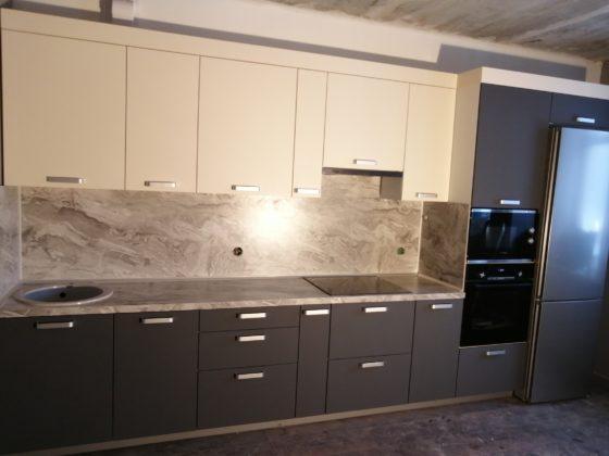 Кухня матовый графит - вид слева